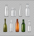 realistic glass bottles transparent set vector image