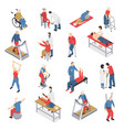 rehabilitation physiotherapy isometric icons set vector image vector image
