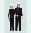 restaurant chef and cook in uniform couple of vector image vector image