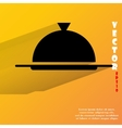 Restaurant cloche Flat modern web button with long vector image