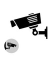 security camera simple black icon on the wall vector image vector image