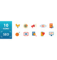 seo icon set include creative elements search vector image vector image
