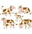 set cute cartoon cows vector image vector image