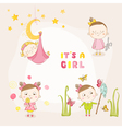 Set of Baby Girl - for Baby Shower or Arrival Card vector image vector image
