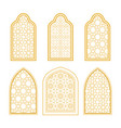 set of ornamental windows in arabic style vector image vector image