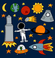 set of various space exploration images vector image