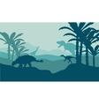 Silhouette of eoraptor and ankylosaurus vector image vector image