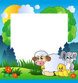 spring frame with various animals vector image vector image