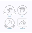 Sprout plant hammer and pot icons vector image vector image