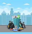 steel garbage bin full of trash vector image vector image
