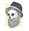 stylish skull with a beard in a summer hat vector image vector image