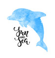 sun and sea hand drawn calligraphy lettering with vector image