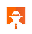 tie and fedora hat logo design vector image