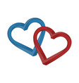 two hearts blue and red on white background vector image vector image