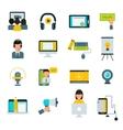Webinar online education flat icons set vector image vector image
