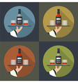 Whiskey bottle with two glasses vector image vector image