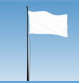 white blank flag with steel pole and black rope vector image vector image