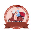 woman riding retro scooter motorcycle icon vector image vector image