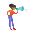 young african-american speaker holding a megaphone vector image vector image