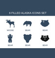 6 alaska icons vector image vector image