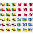 Benin Bahrain Brunei Rwanda Set of 36 flags of the vector image