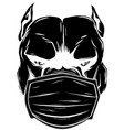black silhouette dog with a protective mask vector image vector image