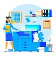 business woman using copy machine or printing vector image vector image