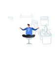 businessman sitting yoga lotus pose relaxing vector image