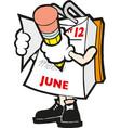 cartoon mark calendar hand with vector image vector image