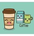 cartoon set coffee cup milk vector image