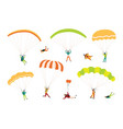 collection of parachutists and skydivers isolated vector image