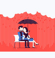 couple in love under umbrella vector image