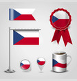 czech republic country flag place on map pin vector image vector image