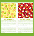 detox juice poster ingredients refreshing drink vector image vector image