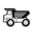 dump truck flat icon black silhouette vector image