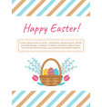 easter card template with basket and eggs vector image vector image