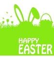 Easter poster with rabbit and grass vector image vector image