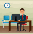 elegant businessman in the office scene vector image