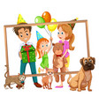 family on photo frame vector image vector image