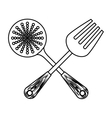 figure skimmer with big fork tools vector image