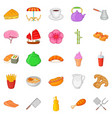 fish meal icons set cartoon style vector image vector image