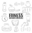 fitness and healthy lifestyle icons set black and vector image