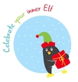 Funny winter holidays card with penguin elf vector image vector image
