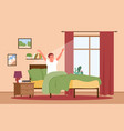 guy waking up in sunrise early morning after night vector image