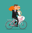 happy couple or newlyweds bride and groom ride vector image