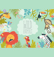 happy jungle animals creating a framed background vector image vector image