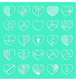 Heart icons set on teal background vector image vector image