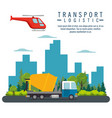 helicopter flying and truck transport icon vector image