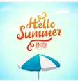 Hello summer typography inscription with parasol vector image vector image