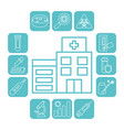 hospital building and covid19 test icon set line vector image vector image